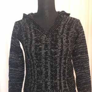 NWT Juniors black chenille hooded sweater